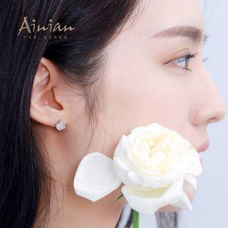 925 Sterling Silver Rhinestone Apple Stud Earrings