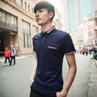 Striped Trim Short-sleeve Polo Shirt