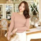 Raglan-sleeve Rib-knit Top