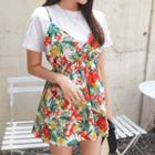 Set: Round-neck T-shirt + Floral Print Minidress