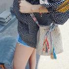 Tasseled-drawstring Patterned Bucket Bag
