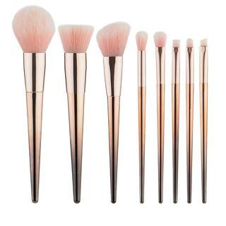 Set Of 8: Makeup Brush Set Of 8: Gray & Gold - One Size