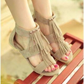 Faux-suede Fringe Flat Sandals