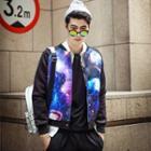 Galaxy-print Baseball Jacket