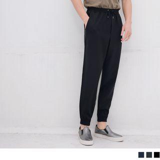 Drawstring-waist Plain Sweatpants