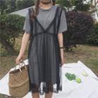 Set: Short-sleeve Stripe T-shirt + Lace Jumper Dress