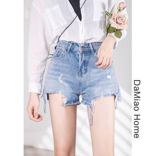 High-waist Cutout Denim Hot Shorts