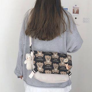 Bear Print Nylon Messenger Bag