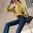 Flower Embroidered Sweater Yellow - One Size