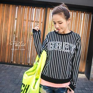 Lettering Striped Pullover