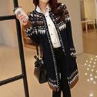 Patterned Long Knit Cardigan
