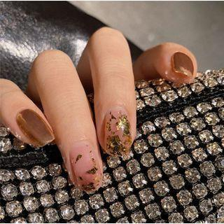 Gold Leaf Faux Nail Tip 185 - Glue - As Shown In Figure - One Size