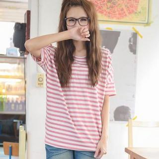 Cutout-shoulder Striped Top