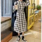 Square Neck Plaid Shirtdress As Shown In Figure - One Size