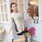 Polka-dot Striped Crown-print Lace-hem T-shirt