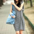 Striped Sleeveless Hooded Dress