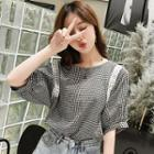 Short-sleeve Lace-trim Check Blouse