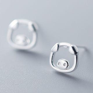 925 Sterling Silver Cutout Pig Head Earring As Shown In Figure - One Size