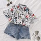 Short-sleeve Printed Blouse White - One Size