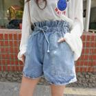 Paperbag-waist Patch-pocket Denim Shorts