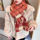 Plaid Fringed Scarf Red - One Size