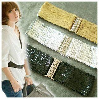 Sequined Elastic Waist Belt
