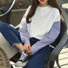 Mock Two-piece Striped Panel Pullover