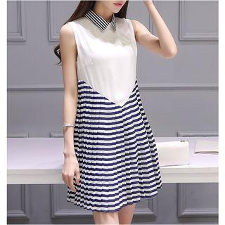 Pleated Stripe Panel Collared Sleeveless Dress