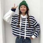 Embroidered Striped Hoodie