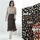 Leopard A-line Long Skirt