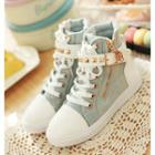 Buckled High-top Canvas Sneakers