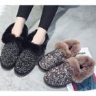 Furry Trim Sequined Snow Boots