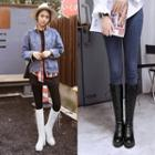 Lace-up Chunky Heel Platform Tall Boots