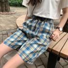 Plaid Drawstring-waist Shorts