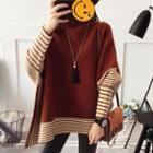 Striped Batwing-sleeve Sweater