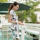 Short-sleeve Print Cheongsam