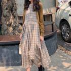 Plaid Sleeveless Midi Dress As Shown In Figure - One Size