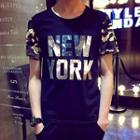 Camouflage Panel Letter Short-sleeve T-shirt