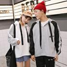Printed Hooded Zip-accent Couple Matching Pullover