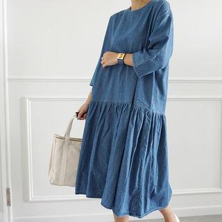 3/4-sleeve A-line Denim Dress