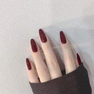Plain Pointed Faux Nail Tip 296 - Glue - Wine Red - One Size