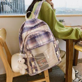 Mesh Pocket Plaid Backpack