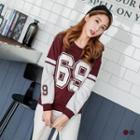69 Letter Printed Color Block Sweatshirt