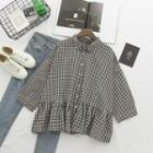 Plaid Flared Shirt Plaid - Black & White - One Size