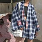 Plaid Patched Oversized Shirt