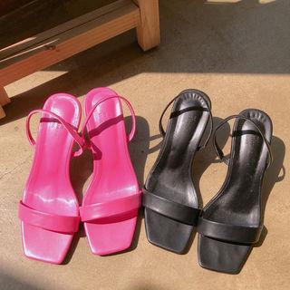 Single-strap Kitten-heel Sandals In Hot Pink