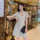 Plain Pleated Blazer Dress