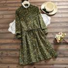 Long-sleeve Floral Print Corduroy A-line Dress