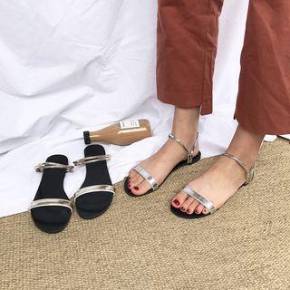 Metallic Strap Slide Sandals