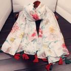 Floral Print Tasseled Linen Blend Scarf